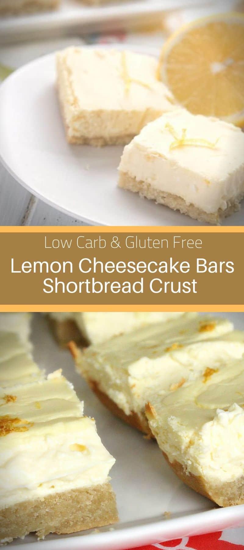 Low Carb Lemon Cheesecake Bars Shortbread Crust Gluten Free