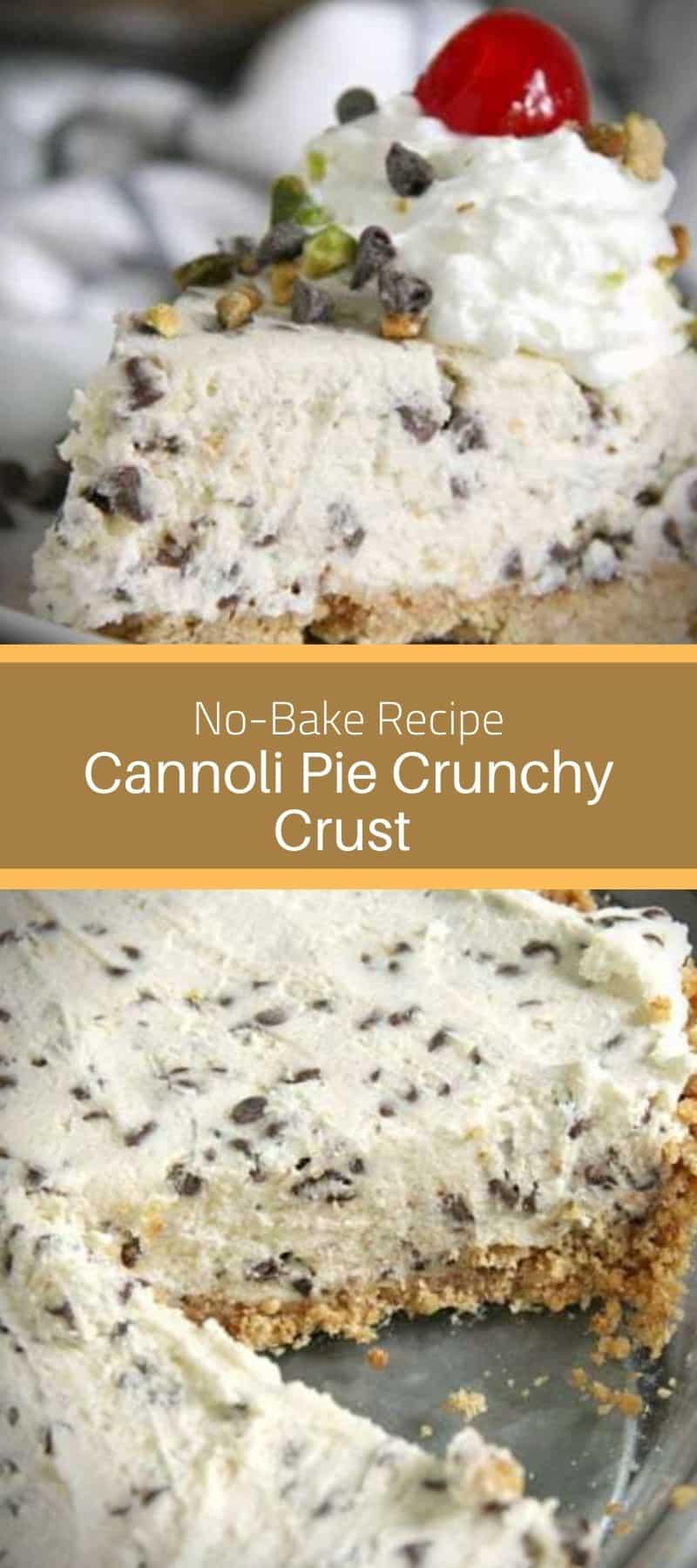 No-Bake Cannoli Pie Crunchy Crust Recipe 3