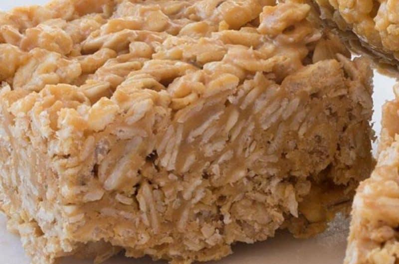 No Bake Peanut Butter Oat Squares Recipe
