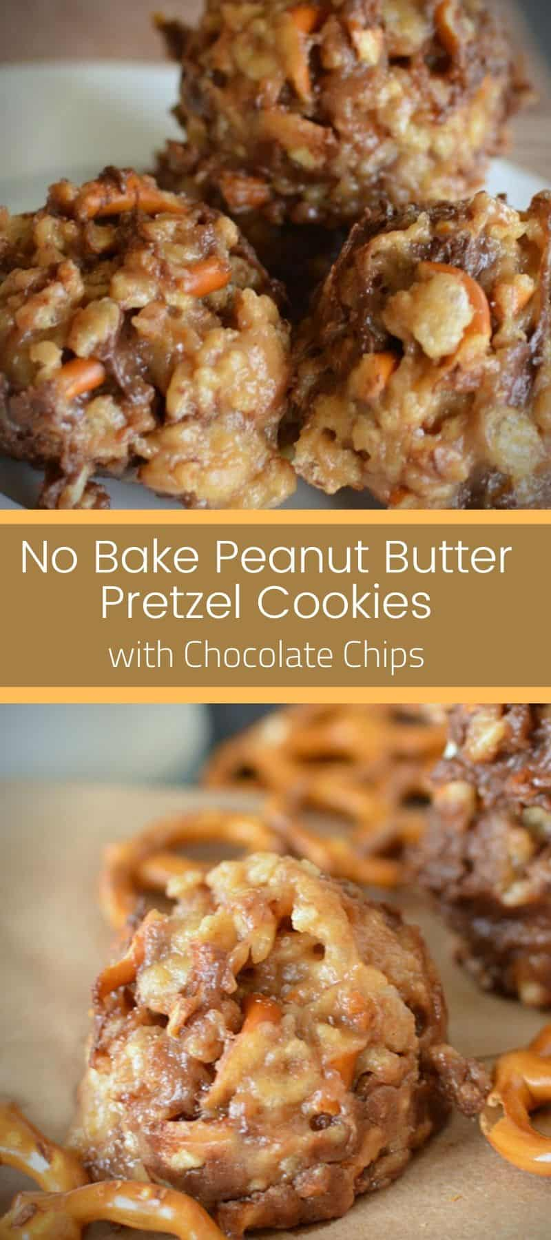 No Bake Peanut Butter Pretzel Cookies with Chocolate Chips 3