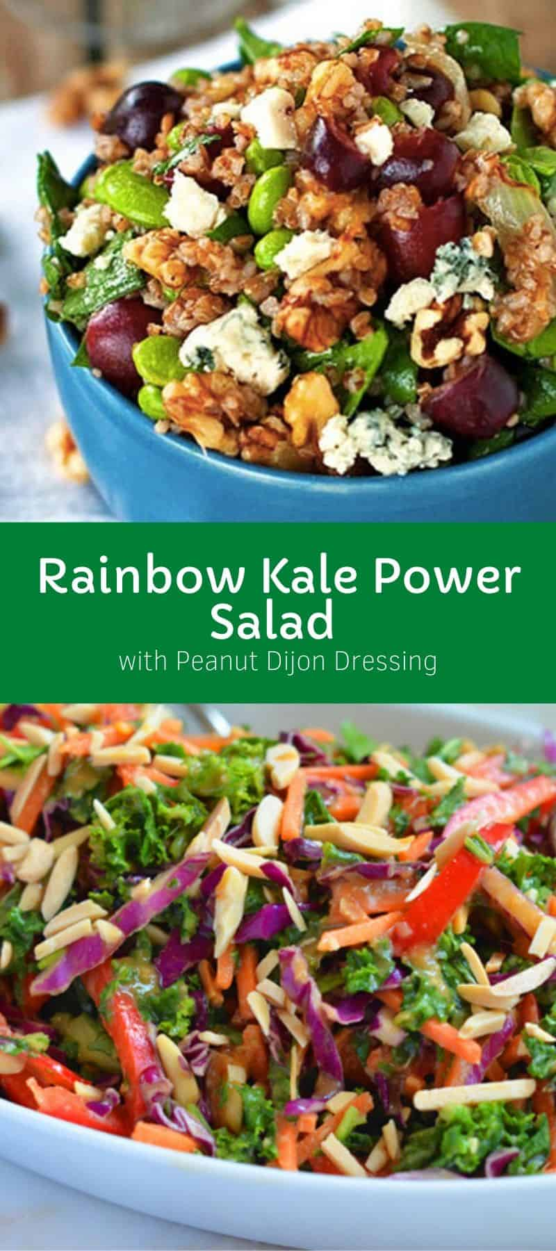 Rainbow Kale Power Salad with Peanut Dijon Dressing 3