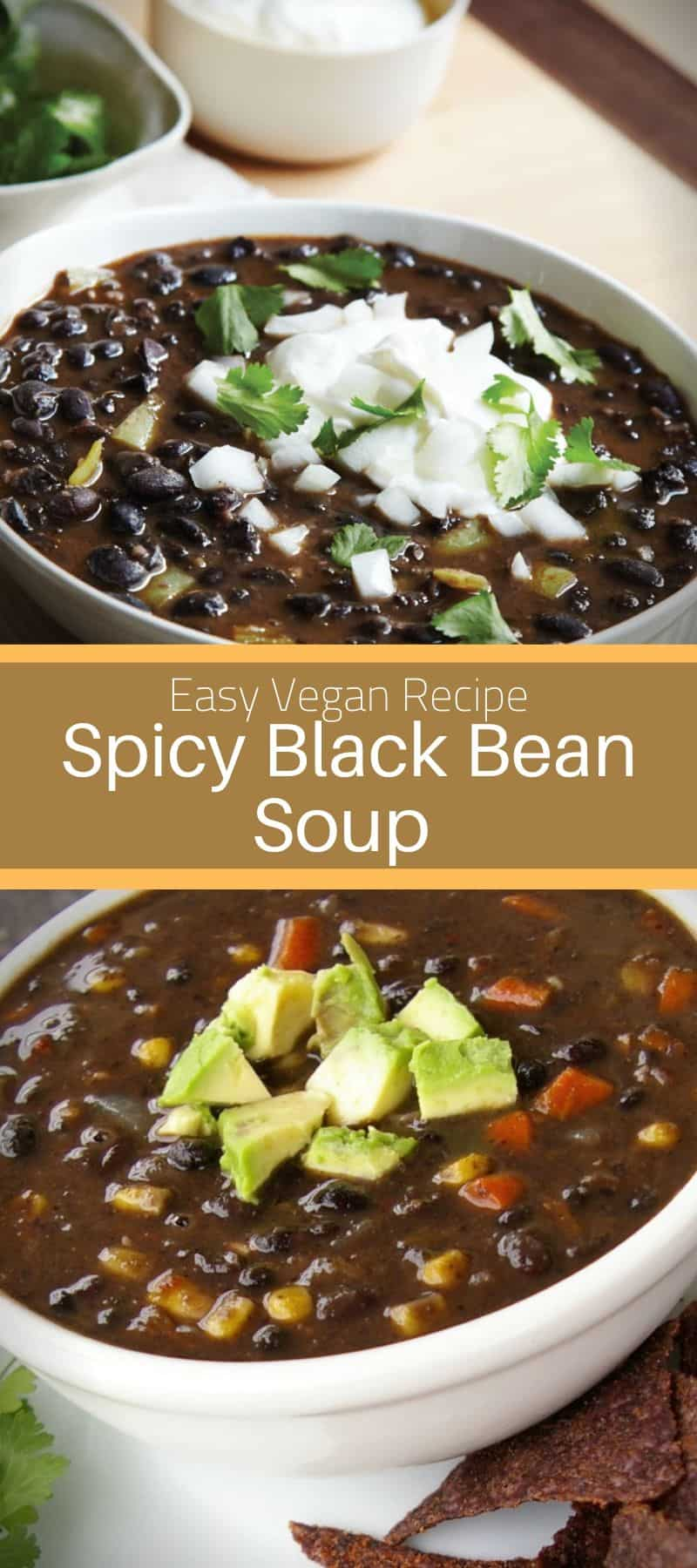 Spicy Black Bean Soup Vegan Recipe 3